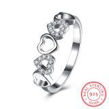 925 소녀를 위한 순은 5 지르콘 심혼 반지 사랑 디자인 보석