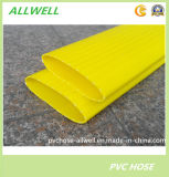 Boyau tressé de pipe d'irrigation de l'eau Layflat de plastique de fibre jaune de boyau de PVC
