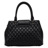 Ladies alla moda Black Real Top Layer Cow Leather Handbag con Shoulder Strap (CG9062)