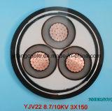 8.7/15 (17.5) kilovoltios U/G cablegrafían 15kv, XLPE, 3X240 Sq. IEC de cobre 60502 del conductor BS-6622 del milímetro