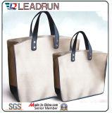 Bolso de compras no tejido de la mano de la lona del algodón del cuero del bolso de compras del morral (X032)