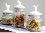 Ribbled Deer Bird Glass Jar 650ml Cristal de tapa de cerámica Utensilios de cocina