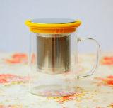 Tazza di caffè di vetro della tazza del coperchio del filtrante dell'acciaio inossidabile del regalo del regalo variopinto della tazza