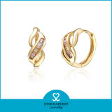 Das 2015 Form-Kristallgold überzog silberne Schmucksachen des Ohrring-925 (E-0165)