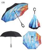 Популярный зонтик перевернул Windproof обратный складывая зонтик двойного слоя перевернутый