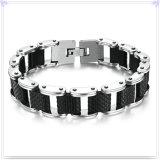 Pulsera del acero inoxidable del silicón del silicón de la joyería de la manera (HR636)