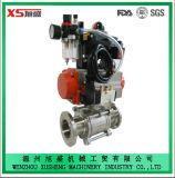Válvula de bola de acero inoxidable Sanitaria neumático 3PCS con actuador