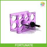 Stand acrylique de bouteilles de lucite de présentoirs de vin d'acier inoxydable