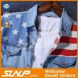 Jupe élégante de chemise de coton de Mens la longue vêtx la chemise de denim de mode