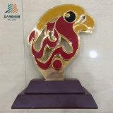 記念品のギフト(JB1078)のカスタムエナメルの赤くおよび黄色カラー金属の鳥のトロフィ