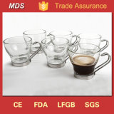 Glass Tea Coffee Cup with Stainless Steel Handle and Holder Metal
