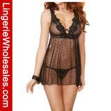 Biancheria sexy sexy della bamboletta di macchia di tendenza di Underwire del merletto e della maglia per le donne