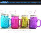 De gekleurde het Drinken Fles van het Glas van de Kruik met Deksel en Handvat