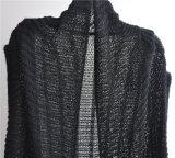 Damenlange Sleeveless Opean gekopierte Knit-Wolljacke