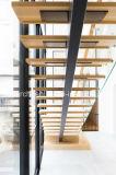 純木の踏面またはステンレス鋼のステアケースまたは外側のステアケースが付いている安い価格の現代ガラスまっすぐなステアケース