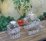 ホームおよび庭のためのハンドメイドのAntiwhiteの金属の鳥籠