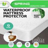 Protecteur en bambou imperméable à l'eau vert de refroidissement de matelas de Terry d'été