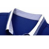 Chemises de polo bleues de collier multicolore de pistes de teinture de filé de type de monsieur