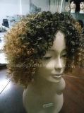 Sensation africaine de cheveux humains de type de perruque synthétique ondulée moyenne de cheveu