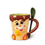 Tazza di caffè su ordinazione di ceramica della tazza di tè di vendita calda con il cucchiaio