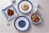 Placa redonda azul y blanca de la melamina del servicio de mesa/de la melamina (13827-10)