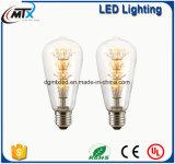 Ampoule ST64 Edison E26 4W d'éclairage LED de cru de Luxon 40 ampoule équivalente du cru DEL de lumière de filament de l'ampoule E27 E14 DEL du cru DEL Edison du watt 2700kReal de watt