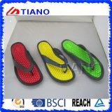 Flip-flop de la playa para los hombres con el brillo de la parte superior del PVC (TNK10047)