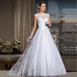 Vestido de casamento Sleeveless do vestido de esfera do laço fabuloso com faixa