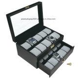 Caso do armazenamento do indicador da coleção da jóia do couro da caixa de presente do relógio de pulso do entalhe