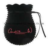 Custom Black Small selado com carimbo impresso Faux Leather Drawstring Bag