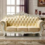 O sofá da sala de visitas ajustou-se com a tabela de madeira para a mobília da sala de visitas