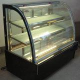 Multideck contador de cristal curvado 3 capas del refrigerador de la visualización de la torta de mármol de la puerta