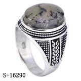 925 자연적인 돌을%s 가진 은 보석 평야 은 남자 반지