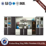 Meubles de bureau modernes de mélamine de portes de bibliothèque en verre en aluminium de bureau (HX-6M084)