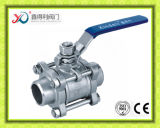 3 части шарикового клапана нержавеющей стали с пусковой площадкой установки ISO5211