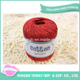 Filetage en laine de coton rouge en fil de coton épais pour tricoter