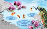 Павлин и белое UV крана напечатанные на картине украшения панели стены