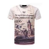 T-shirt 100% da impressão da luva 3D Digitas do Short da O-Garganta do poliéster dos homens