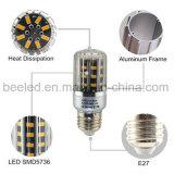 La luz E27 5W del maíz del LED calienta la lámpara de plata blanca del bulbo de la carrocería LED del color