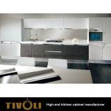 白いアクリルおよび木製の穀物のメラミン安い台所家具(AP018)