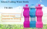 4 capacidades en 1 botella de agua plegable del silicón