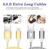 6.6 pi (2M) de type tressé extra-long câble de charge de caractéristiques de C USB avec le connecteur réversible