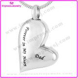 Ijd8032 vendent le charme pendant de collier de souvenir de cendres d'acier inoxydable de bijou d'incinération de coeur