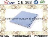 Painel de parede do teto do PVC da impressão do sulco médio com duas linhas douradas Cielo Raso De PVC