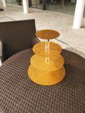 Présentoir acrylique de gâteau rond d'or de luxe