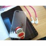 caja plástica transparente del teléfono de la Navidad linda más del reno del iPhone 6
