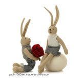 Felpa hecha punto juguete del conejito del juguete de la tarjeta del día de San Valentín creativa