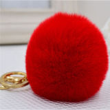 毛皮POM POMのキーホルダーのウサギの毛皮の球のキーホルダー袋の魅力の毛皮の球