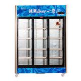 Refrigerador ereto da bebida da porta três deslizante com luz do diodo emissor de luz