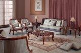 Sofá antigo da tela com frame de madeira para a mobília Home